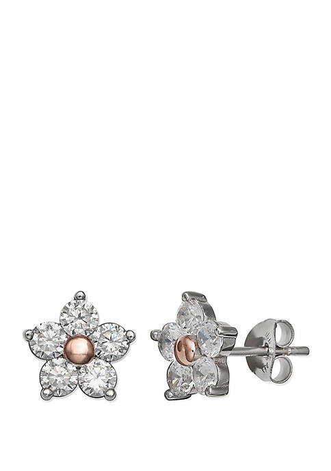 Pave Floral Stud Earrings