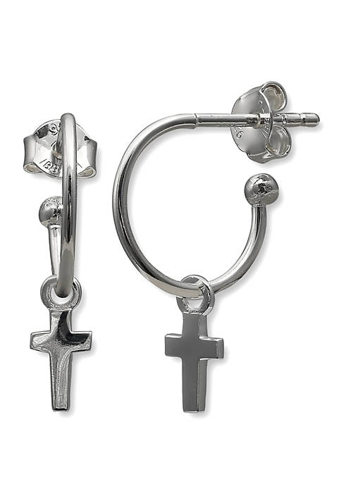Belk Silverworks Polished Cross Drop Open Hoop Earrings