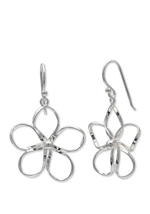 24 Millimeter Wire Flower with 3 Millimeter Bead Center Earrings