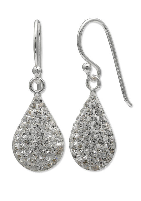 10 mm x 15 mm Clear Pave Crystal Teardrop Earrings