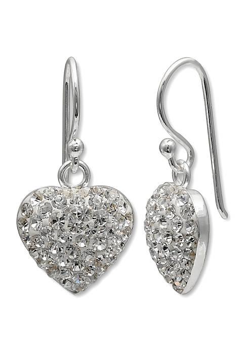 Sterling Pave Heart Drop Earrings