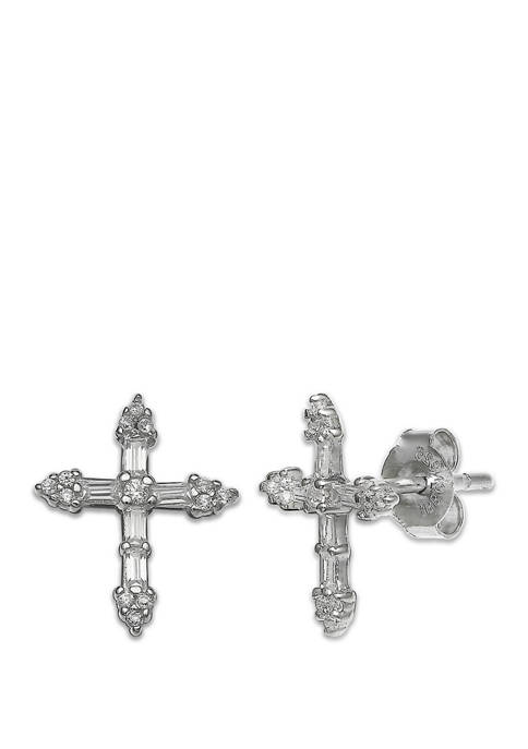 Belk Silverworks Pave Cubic Zirconia Baguette Cross Stud