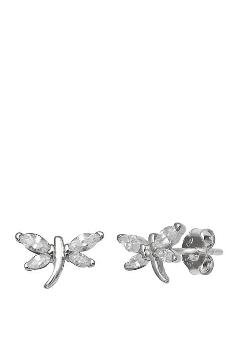 6 mm x 10 mm Marquis Cubic Zirconia Polished Dragonfly Stud Earrings in Sterling Silver