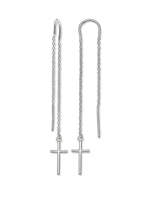 Plain Cross Bar Chain Threader Earrings