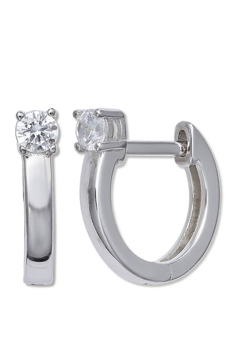 3 Millimeter Cubic Zirconia Huggie Earrings