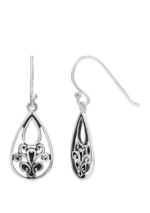 11 mm x 18 mm Polished Oxidized Filigree Teardrop Earrings on French Wire