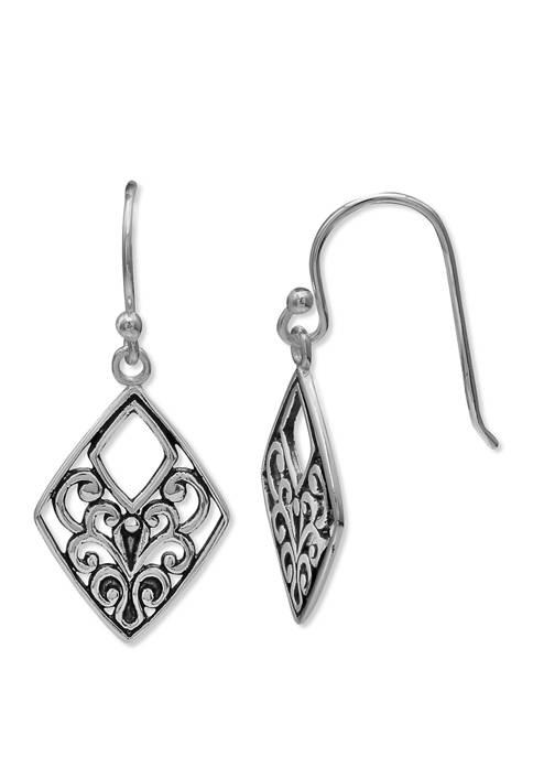 Oxidized Finish Filigree Diamond Drop Earrings