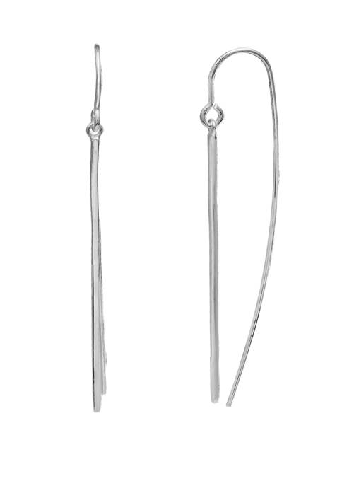 Sterling Silver Polished Bar Drop Earrings
