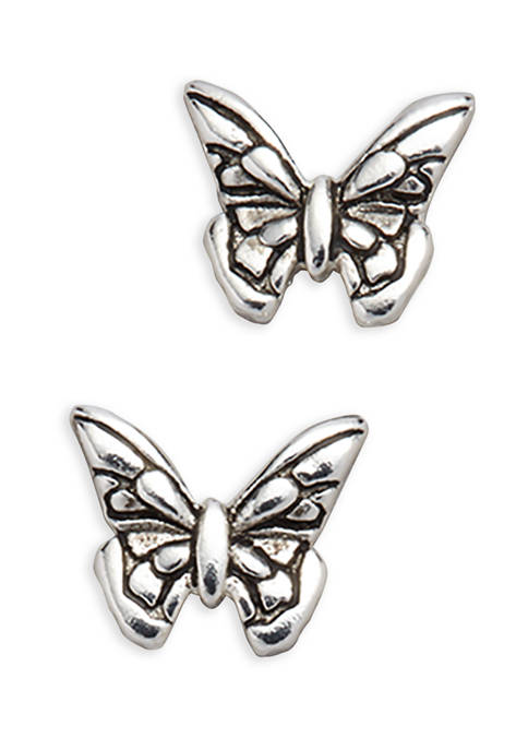 Polished Oxidized Butterfly Etched Detail Stud Earrings