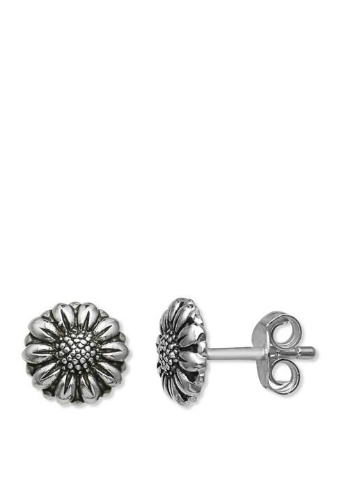 7 Millimeter Oxidized Finish Flower Stud Earrings