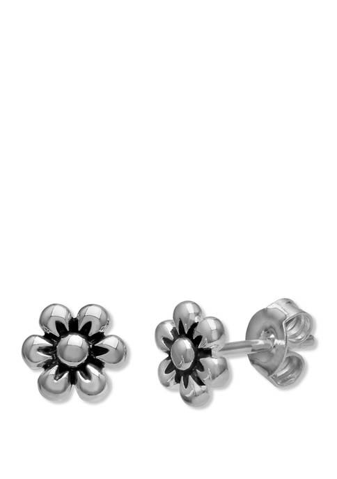 Belk Silverworks 7 Millimeter Oxidized Finish Flower Stud
