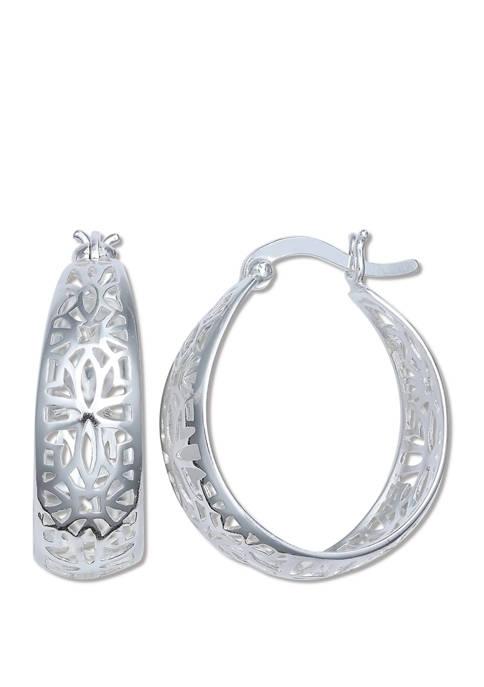 8 mm x 20 mm Filigree Hoop Earrings