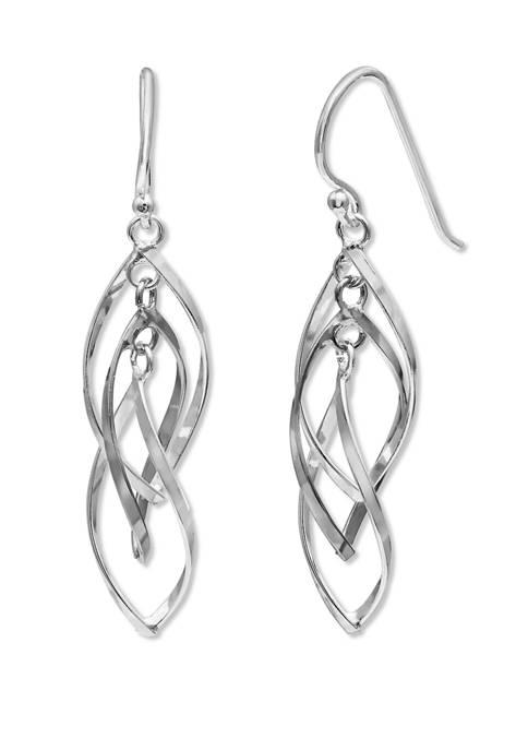Belk Silverworks Twisted Oval Drop Earrings