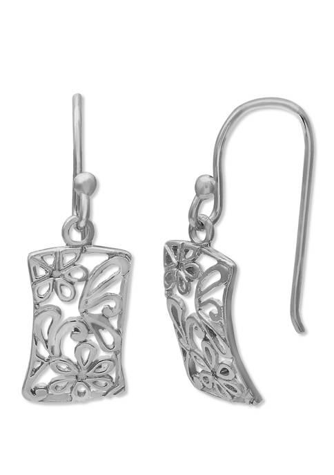8 mm x 14 mm Oxidized Finish Filigree Rectangular Drop Earrings