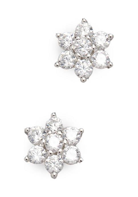 5 Millimeter 3/4 ct. t.w. Cubic Zirconia Flower Stud Earrings in Sterling Silver