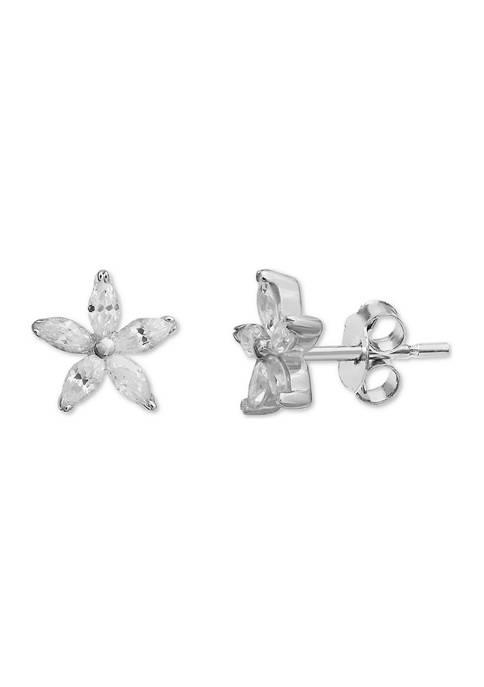 Belk Silverworks Marquise Cubic Zirconia Flower Stud Earrings
