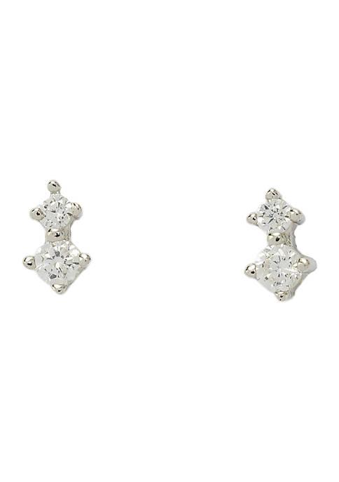 Belk Silverworks Cubic Zirconia Anchor Stud Earrings