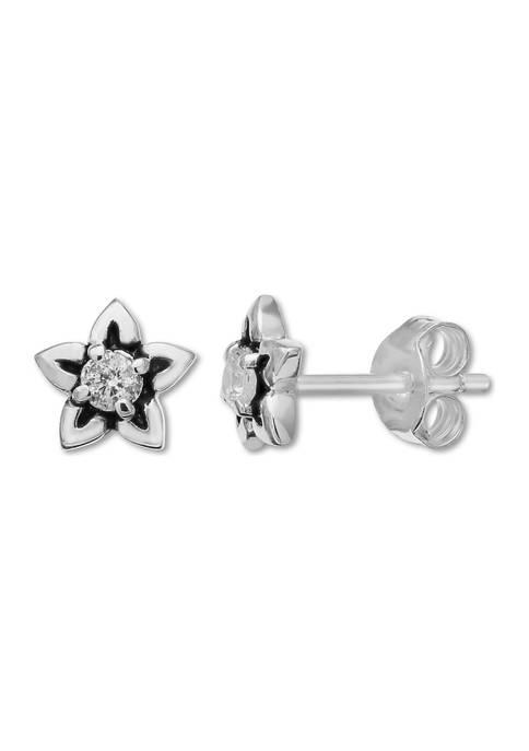 1/10 ct. t.w. Cubic Zirconia Oxidized Flower Earrings in Sterling Silver