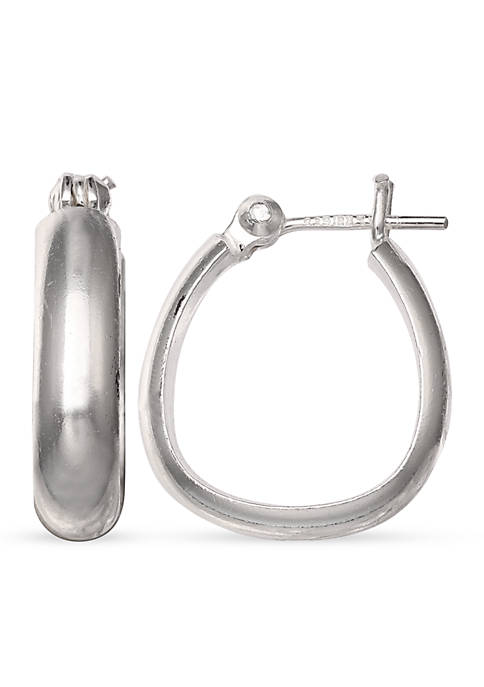 Belk Silverworks Simply Sterling Oval Hoop Earrings