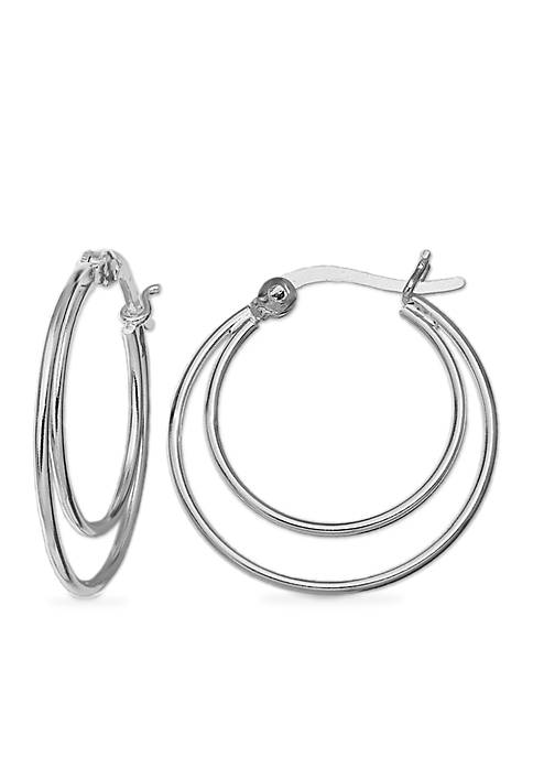 Belk Silverworks Simply Sterling Double Hoop Earrings
