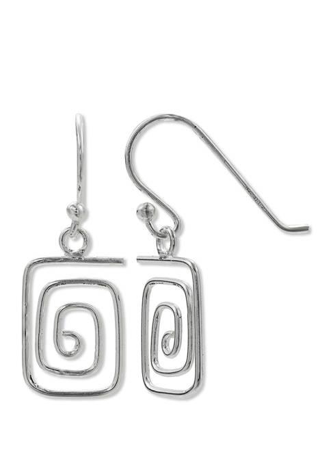 Belk Silverworks Square Wire Wrap Drop Earrings