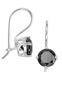 Black Cubic Zirconia Euro Wire Earrings