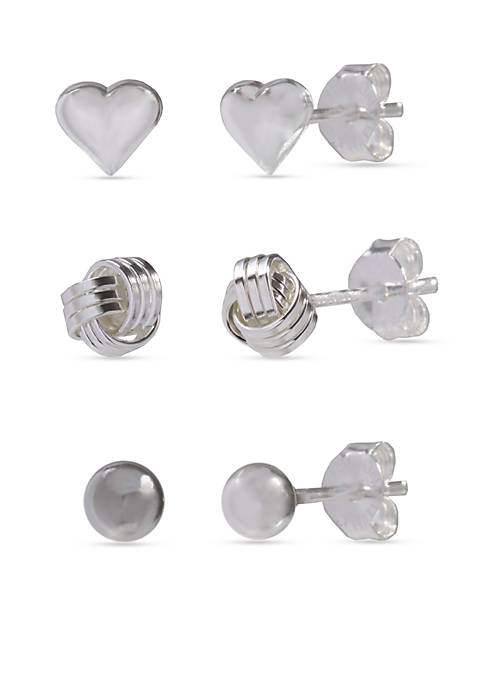 Belk Silverworks Simply Sterling Trio Set Ball Heart