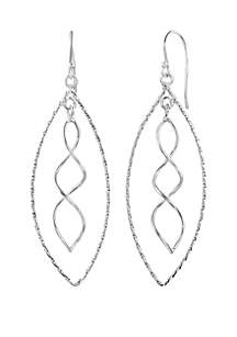Sterling Silver Twisted Swirl Oval Earrings