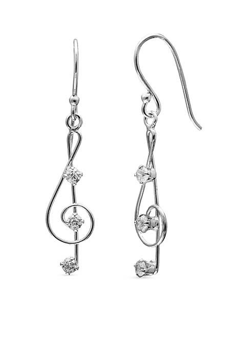 Simply Sterling Wire Music Note Drop Earrings