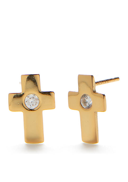 Belk Silverworks Cross Stud Earrings