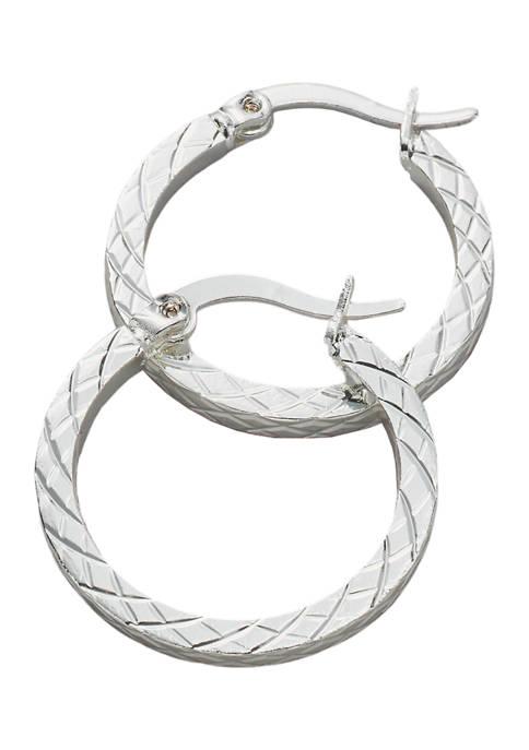 Diamond Cut Click Top Hoop Earrings