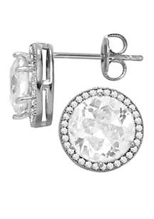 Everloved Fine Silver-Plated Micro-Pave' Round Cubic Zirconia Stud Earrings