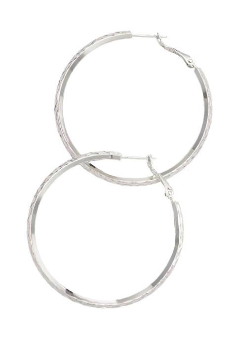 Belk Silverworks Polished Hinge Post Diamond-Cut Hoop Earrings