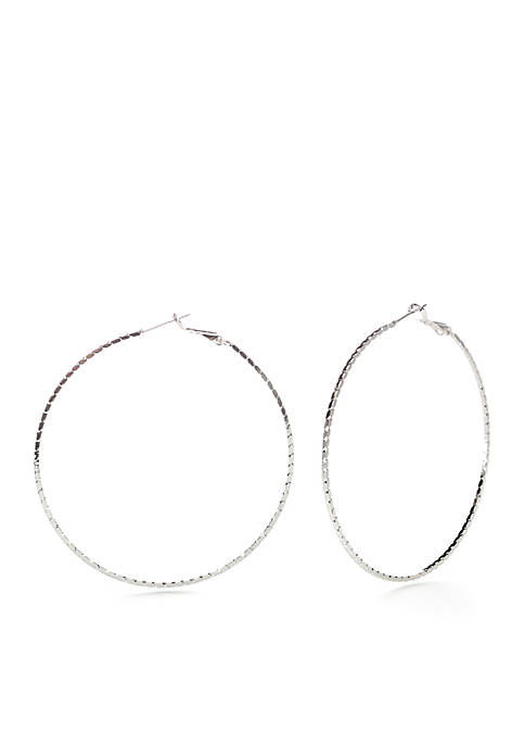 Belk Silverworks Fine Silver Plate Twisted Hoop Earrings
