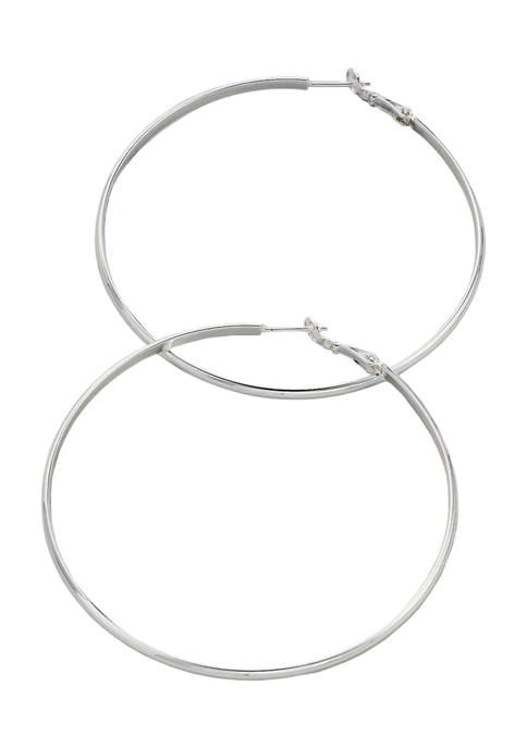 Paddle Back Click Top Post Polished Hoop Earrings