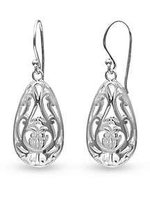 Fine Silver Plated Filigree Puffed Teardrop Earrings
