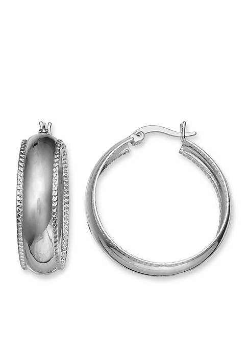 Round Twisted Rope Polished Hoop Earrings