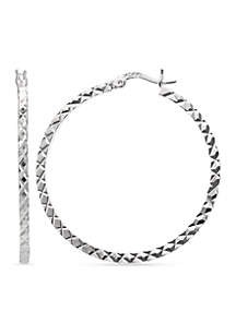Fine Silver Plated Round Diamond Cut Hoop Earring