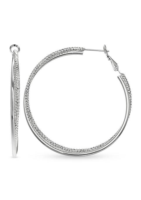 Belk Silverworks Fine Silver Plated Diamond Cut Hoop