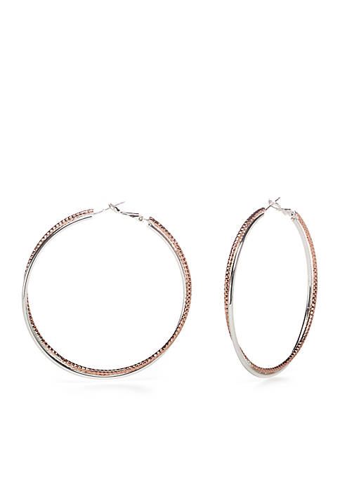 Belk Silverworks Two-Tone Double Crossover Hoop Earrings