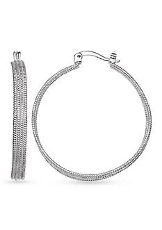 Belk Silverworks Fine Silver Plate Diamond Cut Beaded Hoop Earrings