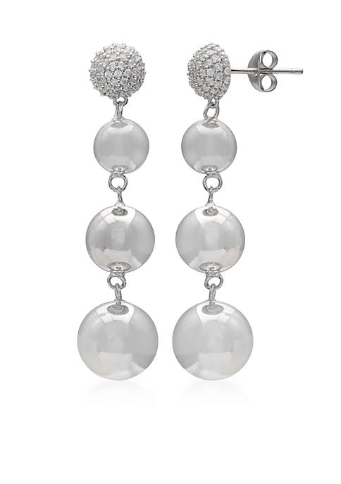 Belk Silverworks Silver-Plated Crystal Bobble Drop Earrings
