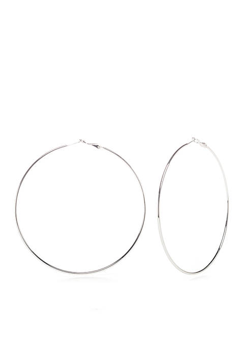 Belk Silverworks Silver-Tone Polished 80mm Hoop Earrings