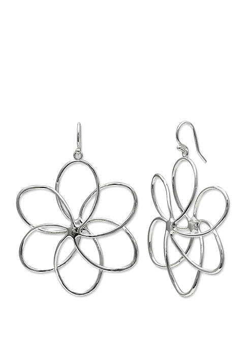 Polished Wire Floral Drop Earrings