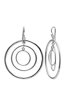 Belk Silverworks Polished Triple Circle Drop Earrings