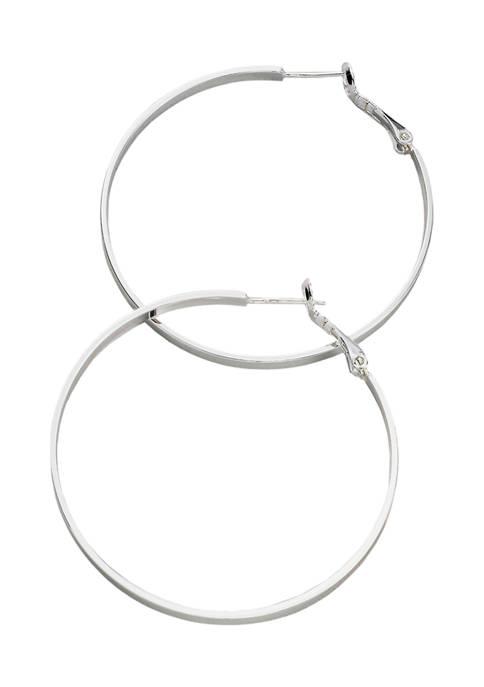 Belk Silverworks 50 Millimeter Silver Tone Flat Hoop