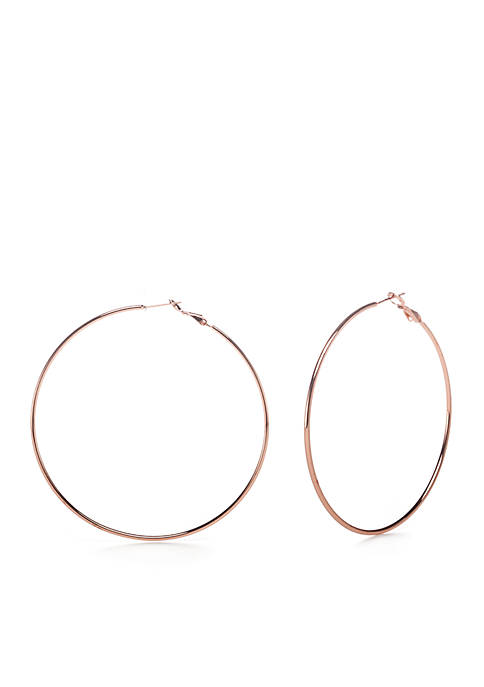 Belk Silverworks Rose Gold-Tone Polished Hoop Earrings