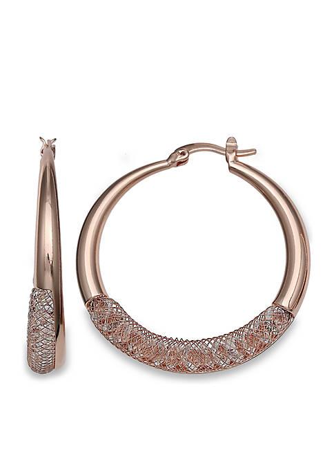 Rose Gold Swarovski Mesh Hoop Earrings with Paddle Back