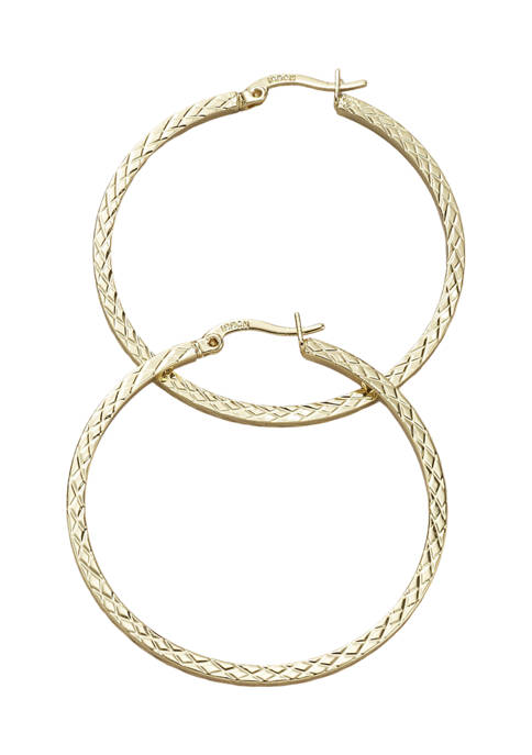 Belk Silverworks 40 Millimeter Gold Tone Textured Hoop