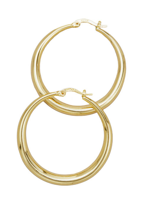 Polished Gold-Tone Hoop Earrings